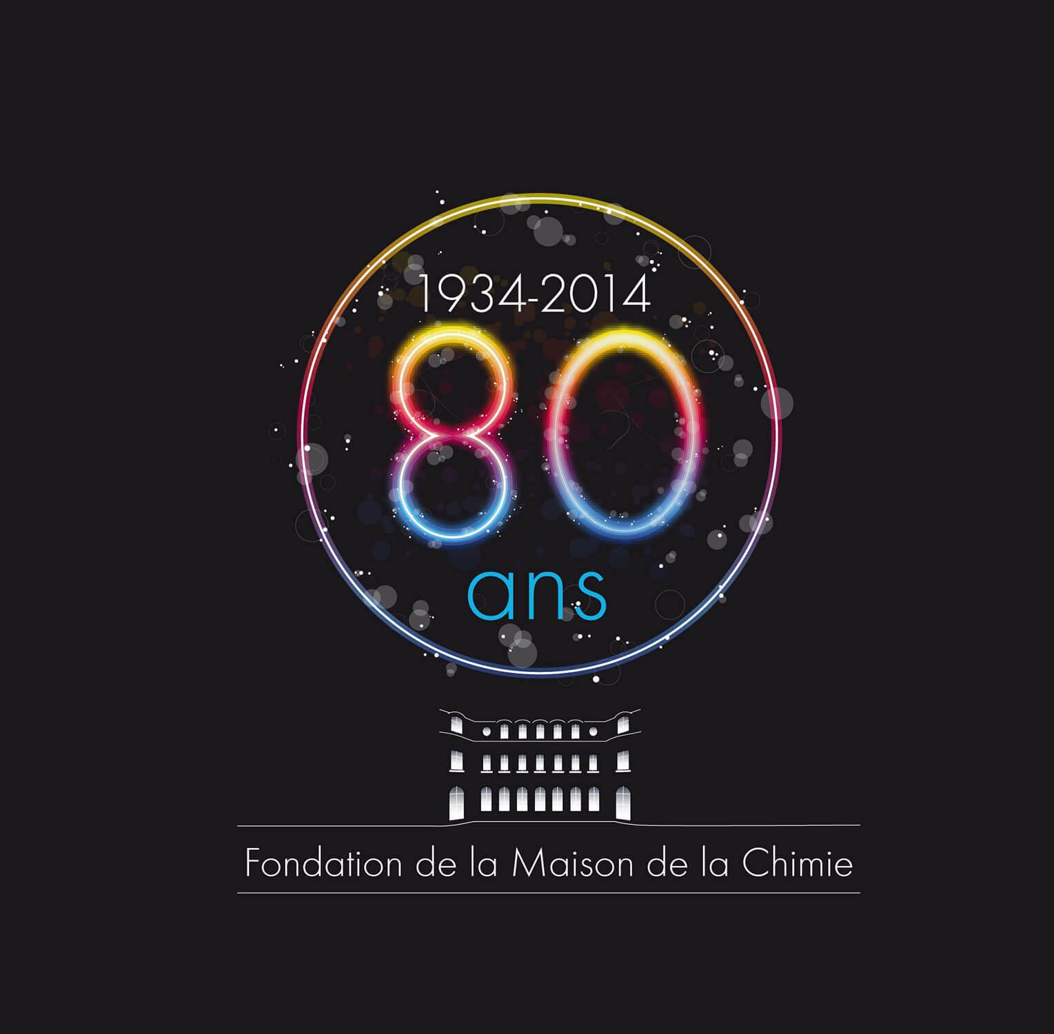 Logo des 80 ans de la Maison de la Chimie à Paris